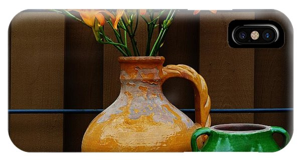 Tigerlilies And Pottery Phone Case by Marsha Heiken