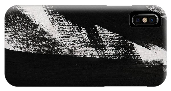 Horizontal iPhone Case - Timber 2- Horizontal Abstract Black And White Painting by Linda Woods