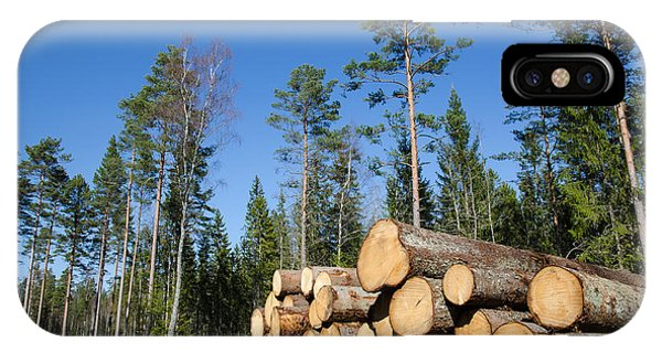 Rights Managed Images iPhone Case - Timber Stack Of Whitewood by Kennerth and Birgitta Kullman