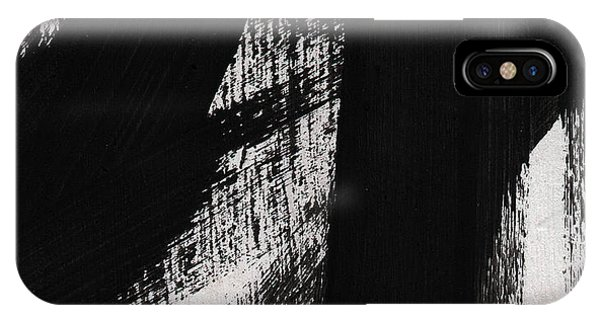 Shape iPhone Case - Timber- Vertical Abstract Black And White Painting by Linda Woods