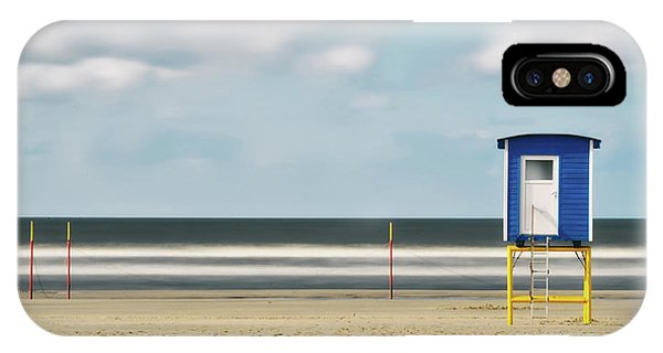 Panorama iPhone Case - Time Exposure On Langeoog Beach by Manfred Uhr