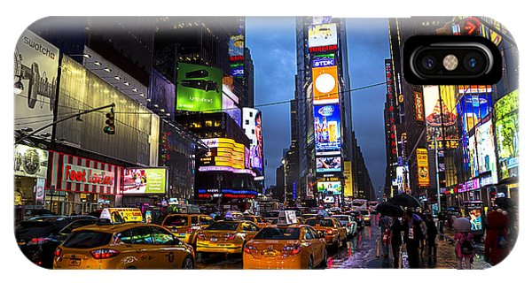 New York City Taxi iPhone Case - Times Square In The Rain by Garry Gay