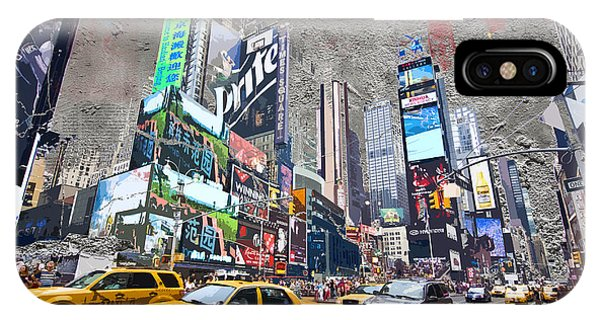 New York City Taxi iPhone Case - Times Square Street Creation by Delphimages Photo Creations