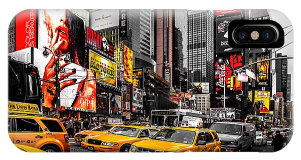 New York City Taxi iPhone Case - Times Square Taxis by Az Jackson