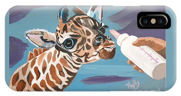 Tiny Baby Giraffe With Bottle IPhone Case