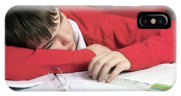 Classroom iPhone Case - Tired Boy Asleep On His Homework by Mauro Fermariello/science Photo Library