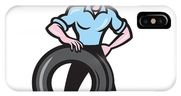 Tireman Mechanic With Tire Cartoon Isolated Phone Case by Aloysius Patrimonio
