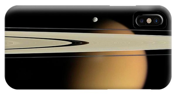 Titan And Saturn's Rings Phone Case by Nasa/jpl/space Science Institute