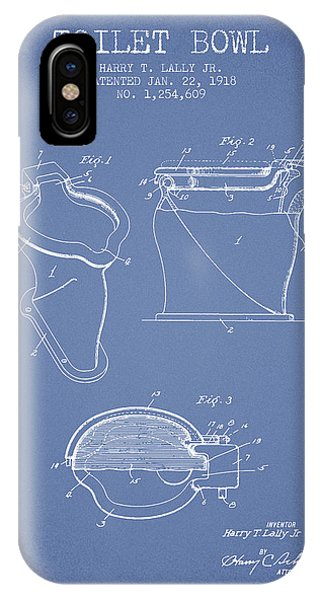 Toilet iPhone Case - Toilet Bowl Patent From 1918 - Light Blue by Aged Pixel