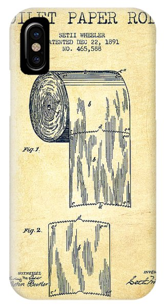Patent Drawing iPhone Case - Toilet Paper Roll Patent Drawing From 1891 - Vintage by Aged Pixel