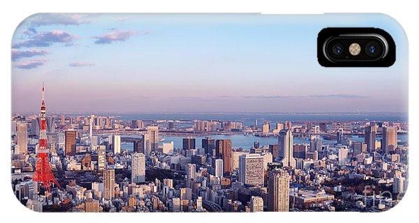 Odaiba iPhone Case - Tokyo Panoramic Aerial Sunset Scenery by Oleksiy Maksymenko