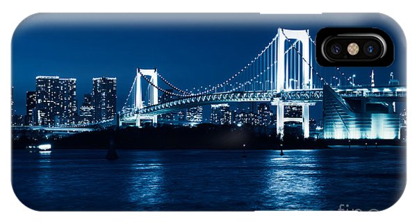 Odaiba iPhone Case - Tokyo Rainbow Bridge At Night Toned In Blue by Oleksiy Maksymenko