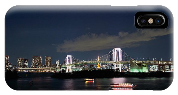Odaiba iPhone Case - Tokyo Rainbow Bridge With Toyko Tower by Wing Lun Leung
