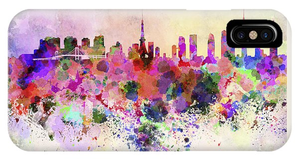 Tokyo Skyline In Watercolor Background IPhone Case