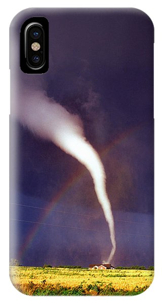 Street Sign iPhone Case - Tornado With Rainbow In Mulvane Kansas by Jason Politte