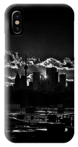 Toronto Canada Skyline At Sunset From The Pape St Bridge IPhone Case