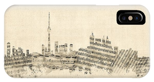 Toronto Canada Skyline Sheet Music Cityscape IPhone Case