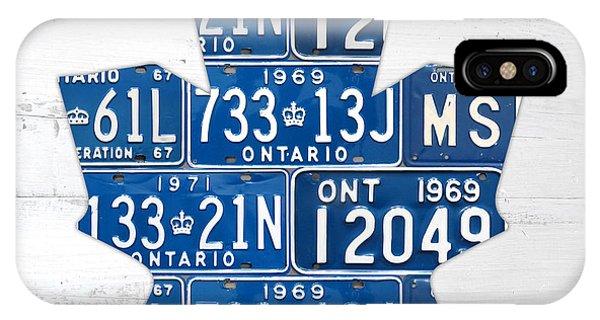 Toronto Maple Leafs Hockey Team Retro Logo Vintage Recycled Ontario Canada License Plate Art IPhone Case