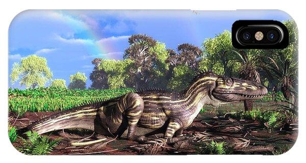 Torvosaurus And Rainbow Phone Case by Walter Myers
