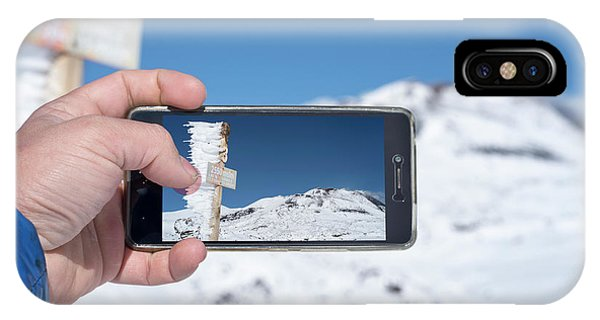 Mt Etna iPhone Case - Tourist Taking Picture Of Mt Etna by Daniel Santacatalina