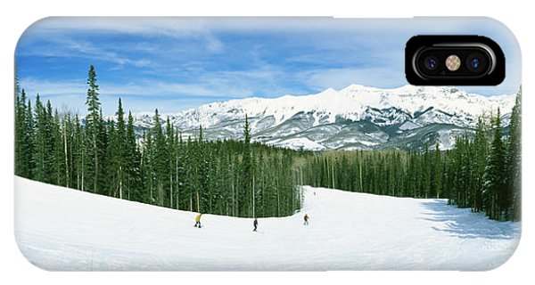 San Miguel iPhone Case - Tourists Skiing On A Snow Covered by Panoramic Images