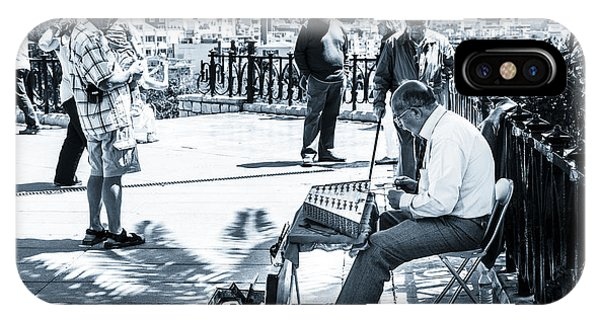 tourists watching busker playing santoor dulcimer at Tarragona S IPhone Case