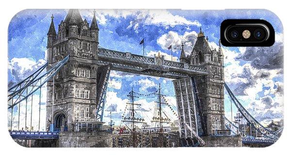 Schooner iPhone Case - Tower Bridge And Passing Ship Art by David Pyatt