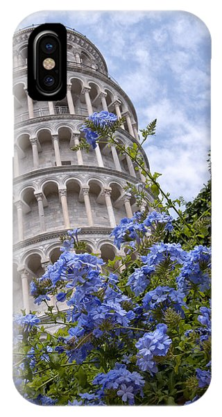 Tower Of Pisa With Blue Flowers IPhone Case