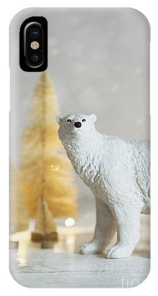 Toy Polar Bear With Little Gold Trees And Lights IPhone Case