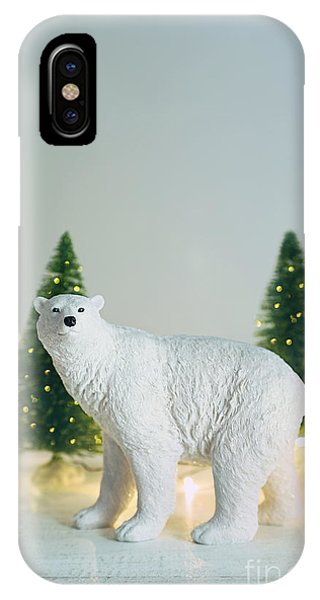 Toy Polar Bear With Little Trees And Lights IPhone Case