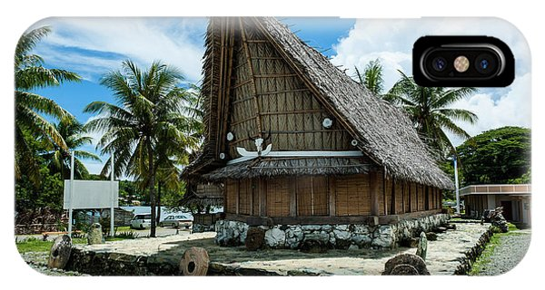 Micronesia iPhone Case - Traditional House With Stone Money by Michael Runkel