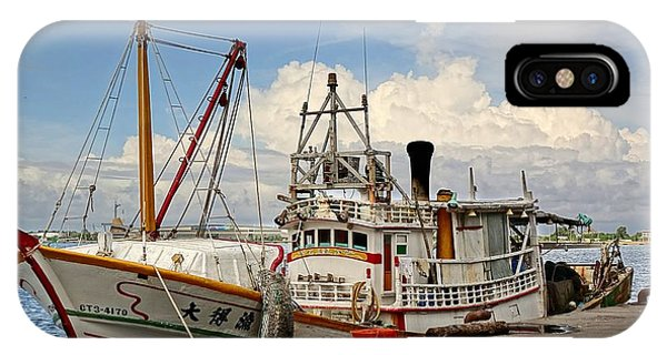 Traditional Taiwan Fishing Boat In Port IPhone Case