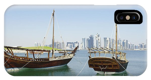 Traditional Wooden Dhows And Doha Skyline IPhone Case