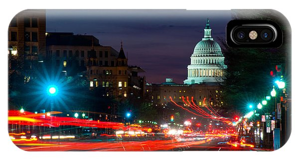 Capitol Building iPhone Case - Traffic On The Road With State Capitol by Panoramic Images