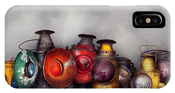 Railroad Signal iPhone Case - Train - A Collection Of Rail Road Lanterns  by Mike Savad