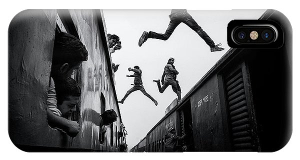 Action iPhone X Case - Train Jumpers by Marcel Rebro