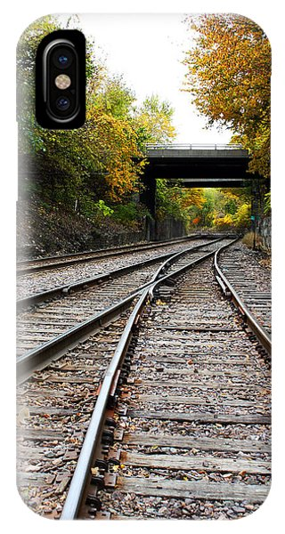Train Tracks And Bridge In Autumn IPhone Case