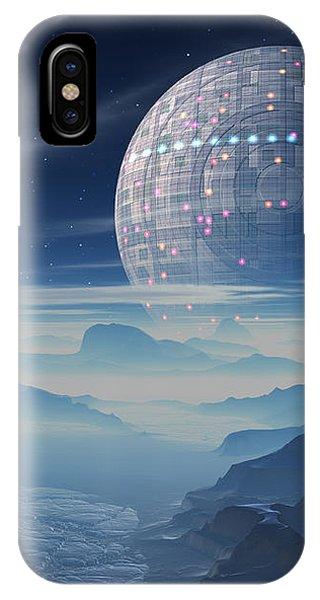 Tranus Alien Planet With Satellite IPhone Case