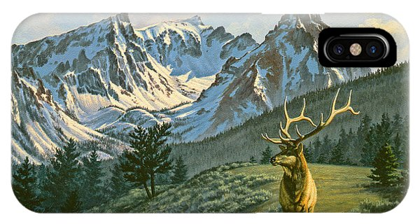Bull iPhone Case - Trapper Peak - Bull Elk by Paul Krapf
