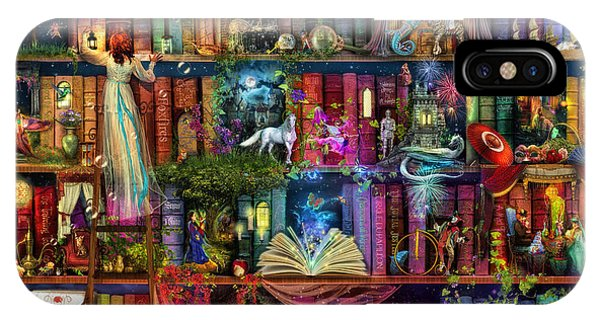 Wizard iPhone X / XS Case - Fairytale Treasure Hunt Book Shelf by Aimee Stewart
