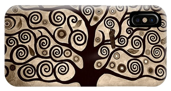 Samantha iPhone Case - Tree Of Life In Sepia by Samantha Black