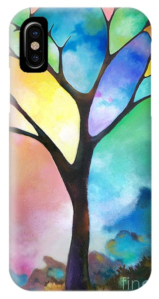 Original Art Abstract Art Acrylic Painting Tree Of Light By Sally Trace Fine Art IPhone Case