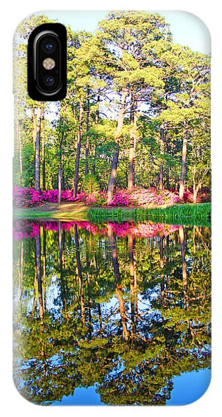 Tree Reflections And Pink Flowers By The Blue Water By Jan Marvin Studios IPhone Case