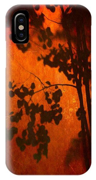 Tree Shadow On Fiery Wall IPhone Case