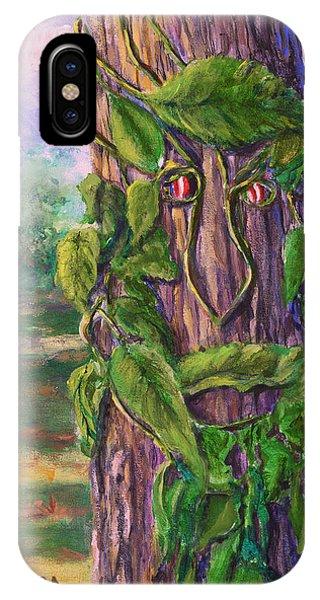 Tree With A Leaf Face Landscape Art IPhone Case