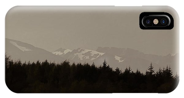 Treeline With Ice Capped Mountains In The Scottish Highlands IPhone Case