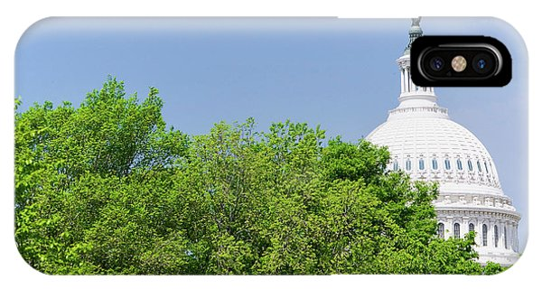 Capitol Building iPhone Case - Trees In Spring Covers U.s. Capitol by Panoramic Images