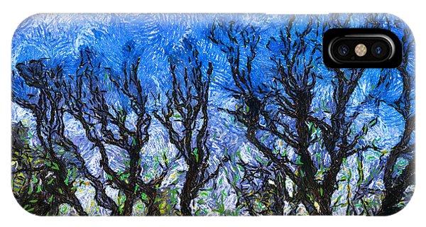 Treeline iPhone Case - Trees On Blue Night Sky Digital Painting Artwork by Amy Cicconi