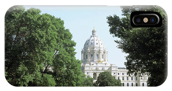 Capitol Building iPhone Case - Trees Outside A Government Building by Panoramic Images