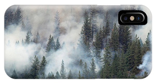 Beaver Fire Trees Swimming In Smoke IPhone Case